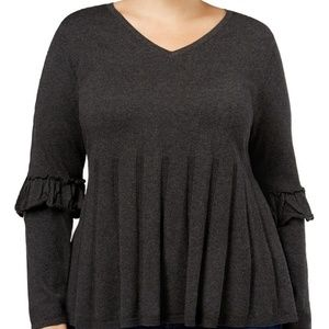 Style&Co Women Sweater Ruffled Sleeve Pleat Cotton